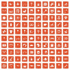 100 nursery icons set grunge orange