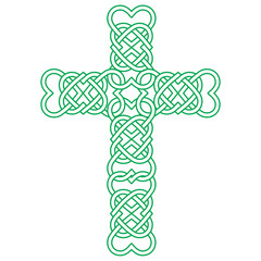Vector knot illustration for Irish community: Celtic knot cross with heart shapes. Gaelic or Celtic medieval style knotwork of Holy Cross isolated.