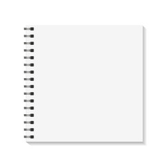 Square Notebook mockup. Empty pages book with binder metal spiral template. Isolated on white background. Vector