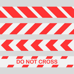 red warning tape Do not cross the line caution tape. Seamless police warning tape set.