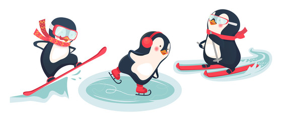 active penguins in winter