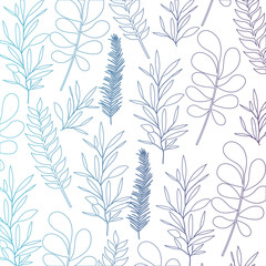 pattern leaves of plants on gradient color silhouette from blue to purple vector illustration