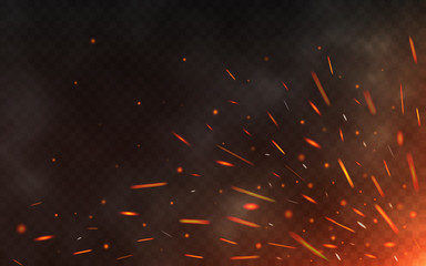 Fire sparks flying up on transparent background. Smoke and glowing particles on black. Realistic lighting sparks with bokeh effect for design. Vector illustration