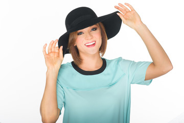 Close up of a Pretty Woman in Black Summer Hat