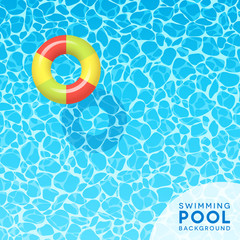 Clear blue swimming pool water background with floating inflated swim ring. For banners, brochures, invitations about spring break, travel, and summer. Vector illustration.