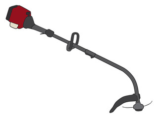 A gas operated power weed whacker is ready for use