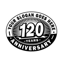 120 years anniversary design template. Vector and illustration. 120th logo.