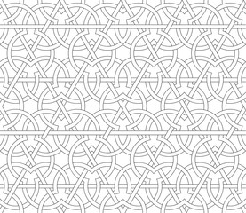 Arabic seamless pattern. Background. Vector stylish texture in black and white color. Ethnic line islamic pattern
