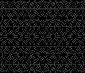 Seamless pattern with overlapping geometric shapes forming abstract ornament. Vector stylish texture in black and white color. Ethnic line islamic pattern