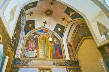 The murals at the entrance to Vank Cathedral, Isfahan, Iran