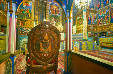 The seat of Archbishop in Vank Cathedral, Isfahan, Iran