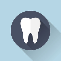 Tooth icon with shadow. Flat  design. Illustration