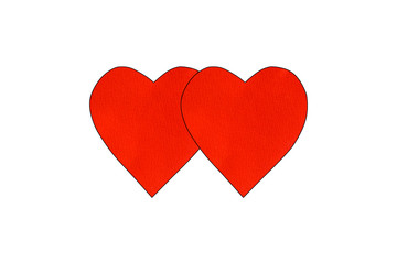 Two Big red heart paper isolate on white background. valentines day concept.