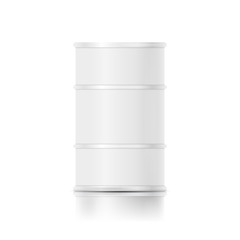 Metallic oil barrel drum. White blank mock-up. Isolated vector design template.