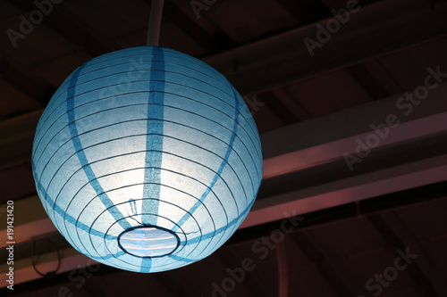 Bright blue lantern decoration at Chinatown night light