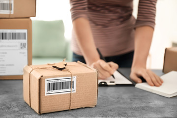 Parcel ready for shipment to customer and young woman working at table in home office. Startup business