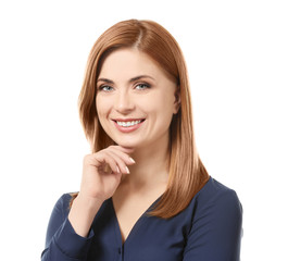 Portrait of beautiful smiling woman on white background