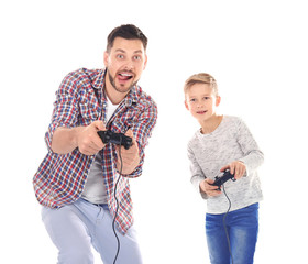 Emotional man and his son playing video game on white background