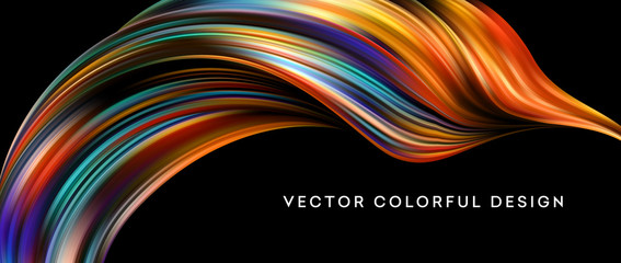 3d Abstract colorful fluid design. Vector illustration Wall mural