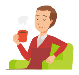 A middle-aged man wearing a sweater is sitting on a sofa and drinking coffee