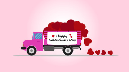 Vector illustration of truck carry heart shape - Love delivery concept