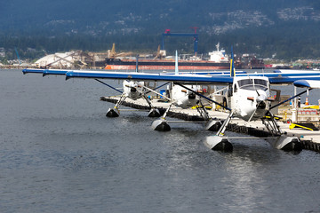 Seaplanes moored in Vancouver.