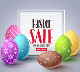Easter sale vector banner design with colorful eggs elements and sale text in white boarder frame for easter celebration discount promotion. Vector illustration.