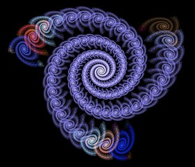 Fine and detailed rendering of an abstract spiral fractal.