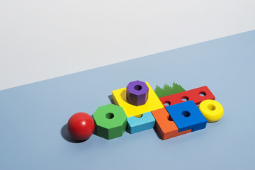 Colorful blocks arrange on blue background