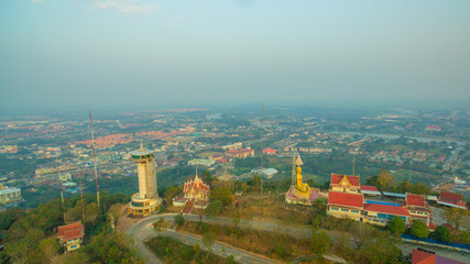 aerial view sunrise above the beautiful golden pagoda.