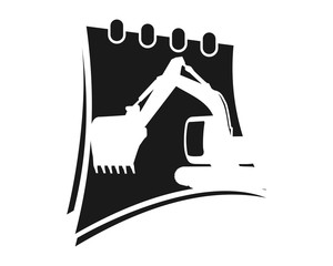 excavator black calendar excavation heavy machinery builder image vector icon logo