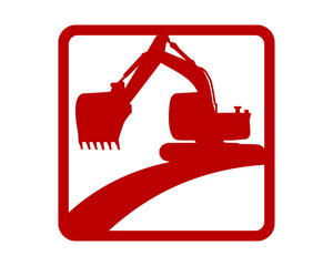 excavator machine silhouette excavation heavy machinery builder image vector icon logo
