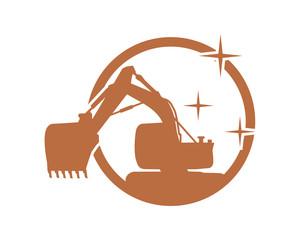 silhouette excavator excavation heavy machinery builder image vector icon logo
