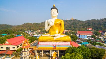 aerial view the big Buddha in Nakornsawan city