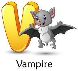 Letter V is for Vampire Bat cartoon alphabet