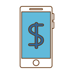smartphone device with money symbol vector illustration design