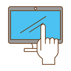 monitor computer with hand user vector illustration design