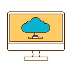 monitor computer with cloud computing vector illustration design