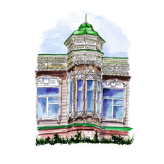 Watercolor drawing of a wooden building with a dome and a spire