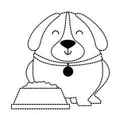 cute dog with dish food vector illustration design