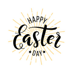 Happy Easter Day. Hand drawn lettering for greeting card. Vector illustration on white background