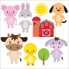 Cute farm animals vector cartoon illustration