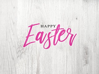 Happy Easter Script Text Over Rustic White Wood Background