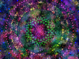 Abstract ancient geometrics with star field and colorful galaxy background, watercolor digital art painting and mandala graphic design