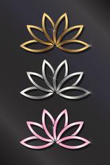 Golden, silver, Pink Lotus Plant Image Vector Illustration