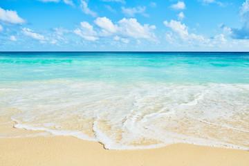 Clear aqua blue sea water and white sand tropical beach
