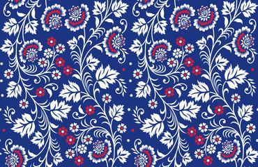 seamless vintage floral pattern on navy background