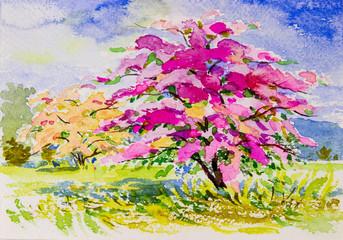 Obraz akwarela krajobraz oryginalny na papierze kolorowy z kwiatów papieru.
