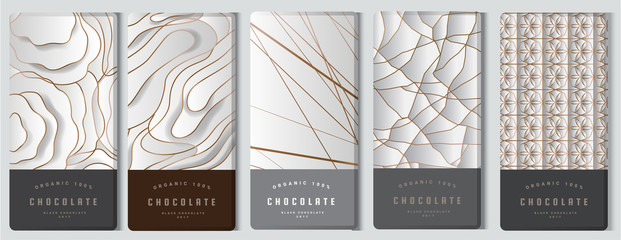 Chocolate bar packaging mock up set. elements,labels,icon,frames, for design of luxury products.Made with golden foil.Isolated on silver and brown background. vector illustration