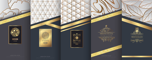 Collection of design elements,labels,icon,frames, for packaging,design of luxury products.Made with golden foil.Isolated on silver and marble background. vector illustration Wall mural